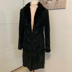 Suede winter coat w/faux shearling lining